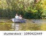 happy young teenage couple  guy ... | Shutterstock . vector #1090422449