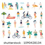 set of different people on the... | Shutterstock .eps vector #1090428134