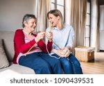 elderly grandmother and adult...   Shutterstock . vector #1090439531