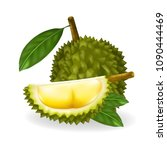 king of fruits  durian isolated ... | Shutterstock .eps vector #1090444469