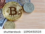 bitcoin  british one pound  and ... | Shutterstock . vector #1090450535