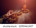 alcohol addiction concept. beer ... | Shutterstock . vector #1090461407