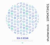 sea and ocean journey concept...   Shutterstock .eps vector #1090473401