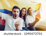 excited colombian soccer fans... | Shutterstock . vector #1090473701