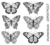 set of butterfly silhouettes.... | Shutterstock .eps vector #1090479227