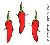cute pepper chili characters | Shutterstock .eps vector #1090484474