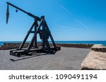 ancient catapult on the...