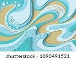 vector paper cut waves modern... | Shutterstock .eps vector #1090491521