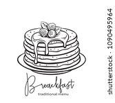 vector hand drawn pancakes...   Shutterstock .eps vector #1090495964