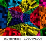 abstract techno background in... | Shutterstock .eps vector #1090496009
