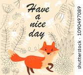vector illustration of cute fox ... | Shutterstock .eps vector #1090497089