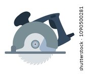 circular saw icon. flat color...