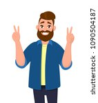 man is showing victory sign.... | Shutterstock .eps vector #1090504187