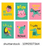 vector set of cute cards with... | Shutterstock .eps vector #1090507364