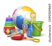 colorful kids toys concept 3d... | Shutterstock . vector #1090509869