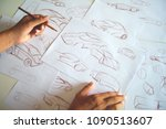 graphic designer work drawing... | Shutterstock . vector #1090513607