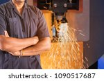 engineer with cnc lathe machine ... | Shutterstock . vector #1090517687