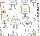 hand drawn funny robots.... | Shutterstock .eps vector #1090524671