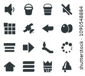 black vector icon set bucket...