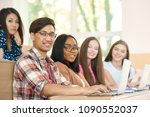 sideview of groupmates looking... | Shutterstock . vector #1090552037