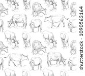 seamless pattern with cow.... | Shutterstock .eps vector #1090563164