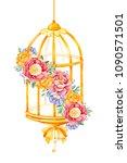 romantic watercolor birdcage... | Shutterstock . vector #1090571501