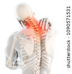 3d illustration  neck painful   ... | Shutterstock . vector #1090571531