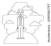man standing in landscape... | Shutterstock .eps vector #1090581797