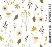 seamless pattern with flowers... | Shutterstock .eps vector #1090587665