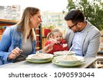 happy family is enjoying pasta...   Shutterstock . vector #1090593044