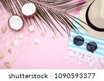 summer accessories with... | Shutterstock . vector #1090593377