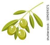 branch of green olives  vector... | Shutterstock .eps vector #109059371