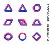 set of impossible shapes. web... | Shutterstock .eps vector #1090602221