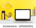 laptop mockup on creative... | Shutterstock . vector #1090603301