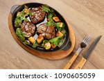 delicious steak meat with... | Shutterstock . vector #1090605059