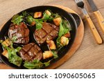delicious steak meat with... | Shutterstock . vector #1090605065