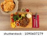 delicious beef steak meat on... | Shutterstock . vector #1090607279