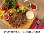 delicious beef steak meat on... | Shutterstock . vector #1090607285