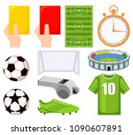 colorful cartoon soccer... | Shutterstock .eps vector #1090607891