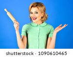 woman in pin up style holds... | Shutterstock . vector #1090610465