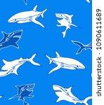 shark pattern illustration... | Shutterstock .eps vector #1090611689