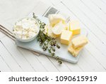 dairy products and thyme... | Shutterstock . vector #1090615919