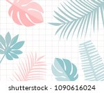 tropical leaves frame with... | Shutterstock .eps vector #1090616024