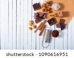 chocolate brownie cake and... | Shutterstock . vector #1090616951