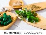 herbal leaves  ground herb...   Shutterstock . vector #1090617149