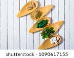 herbal leaves  ground herb...   Shutterstock . vector #1090617155