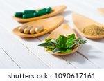 herbal leaves  ground herb...   Shutterstock . vector #1090617161