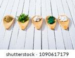 herbal leaves  ground herb...   Shutterstock . vector #1090617179