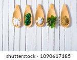 herbal leaves  ground herb...   Shutterstock . vector #1090617185