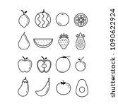 outline fruit icon set vector... | Shutterstock .eps vector #1090622924